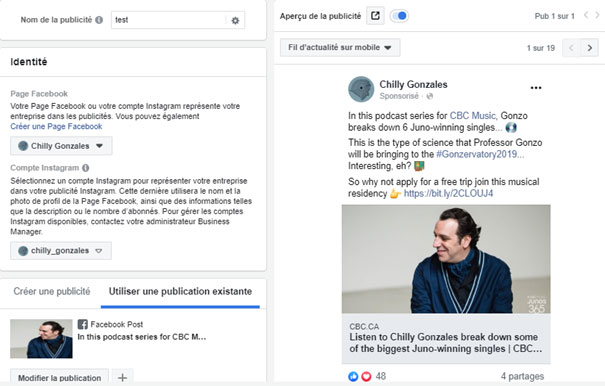 Create a Facebook ad