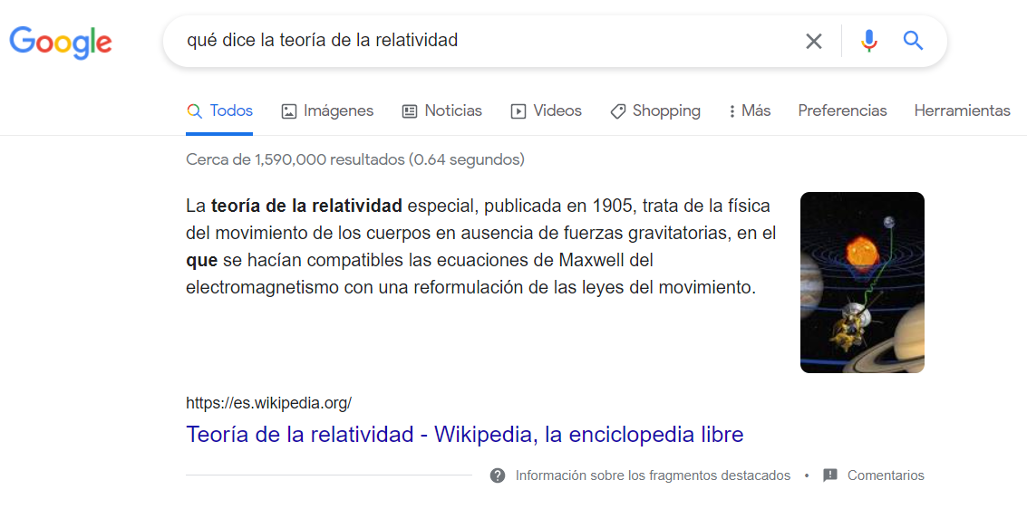 Example of a featured snippet from Google.